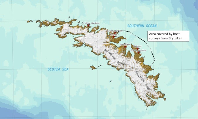 Map of South G showing survey location